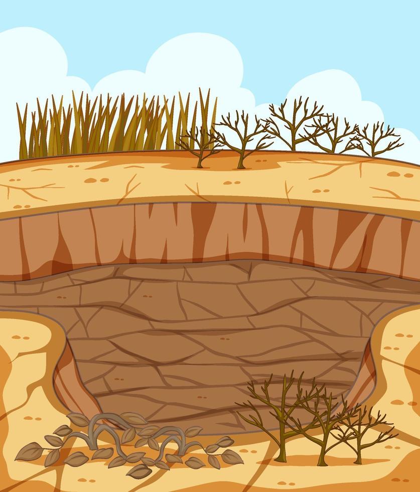 torr sprucken landskapsscen med döda växter vektor