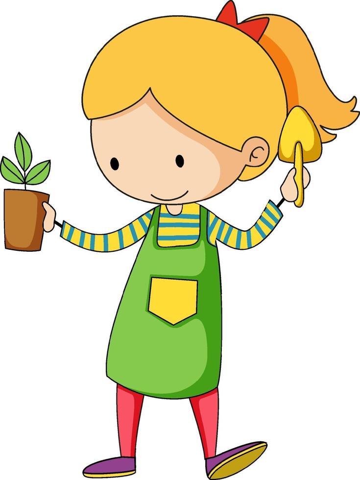 liten trädgårdsmästare doodle seriefigur vektor
