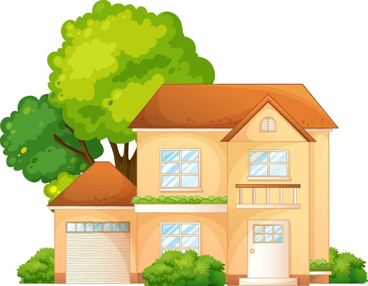 framsidan av ett hus med många träd som isoleras på vit bakgrund vektor