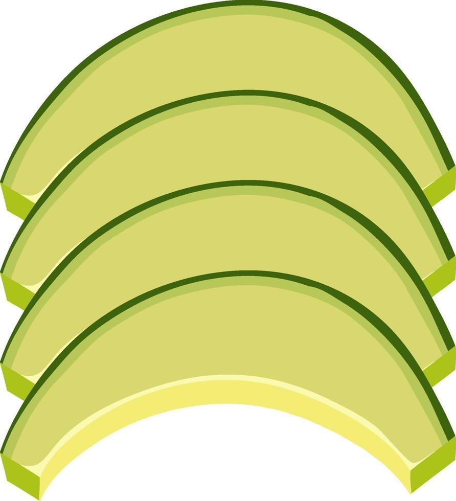 skivad grön melon i hälften på vit bakgrund vektor