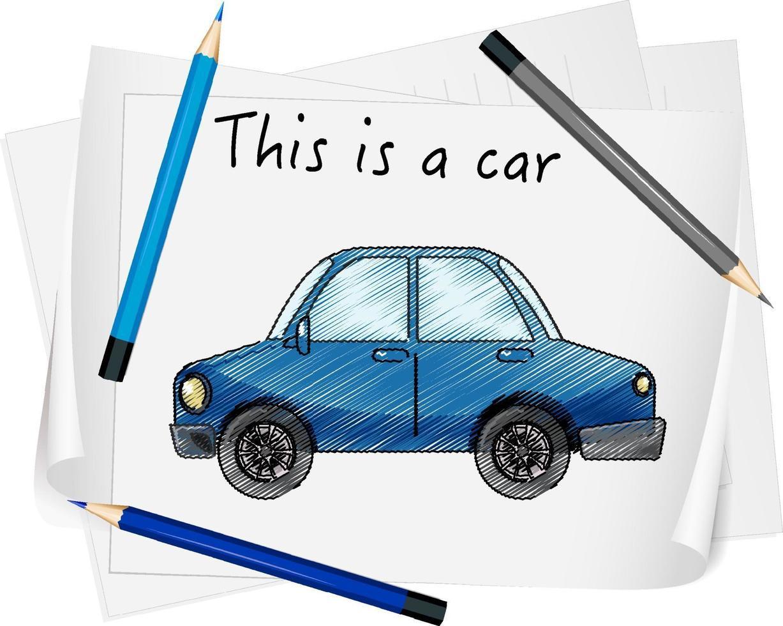 skiss blå bil på papper isolerade vektor
