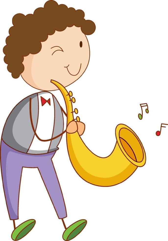 ein Gekritzelkind, das Saxophon-Zeichentrickfigur isoliert spielt vektor