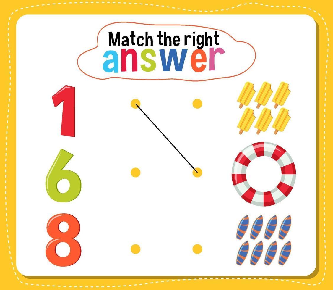 passen Sie die richtige Antwortaktivität für Kinder an vektor