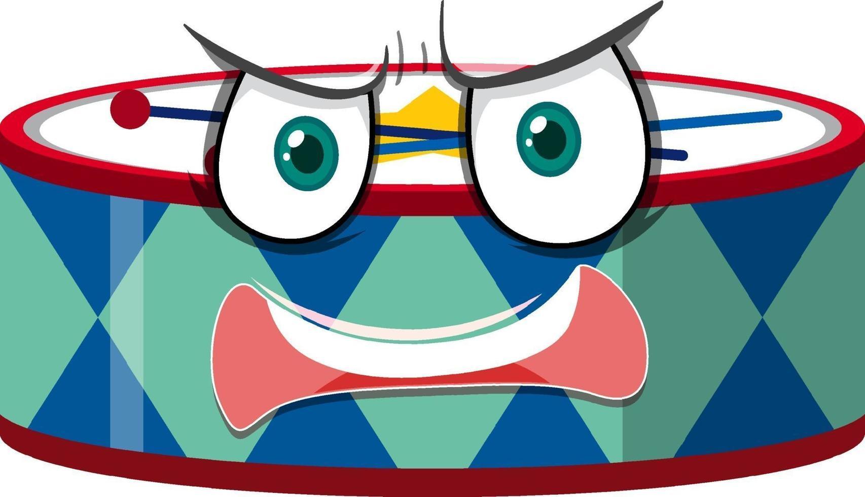 trumma seriefigur med ansiktsuttryck vektor