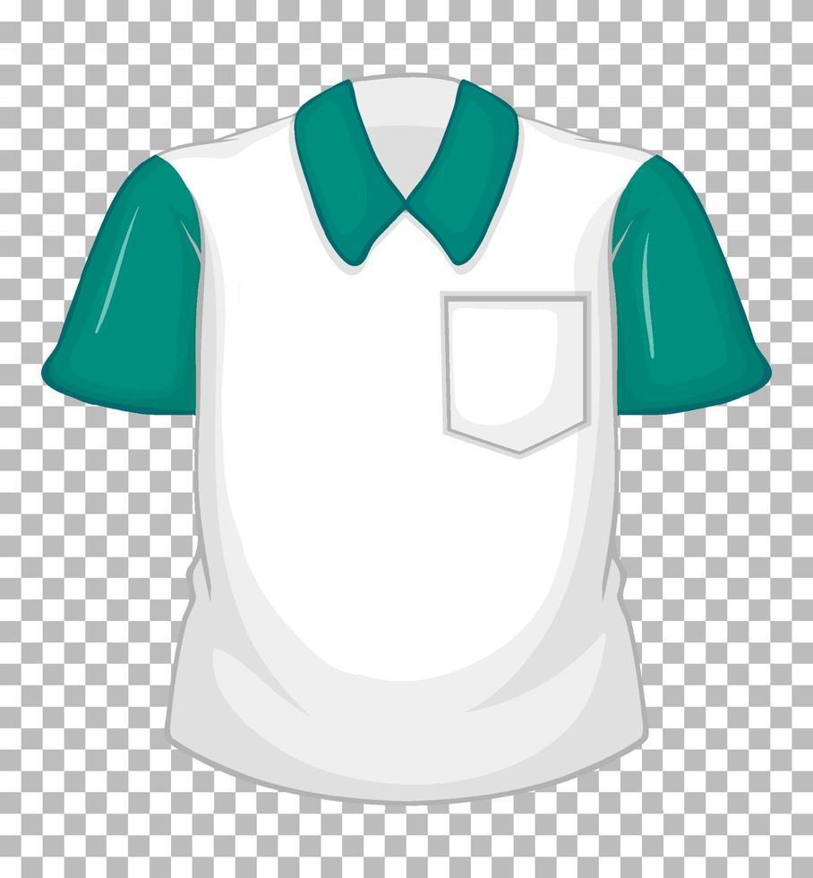 tom vit skjorta med gröna korta ärmar och ficka vektor