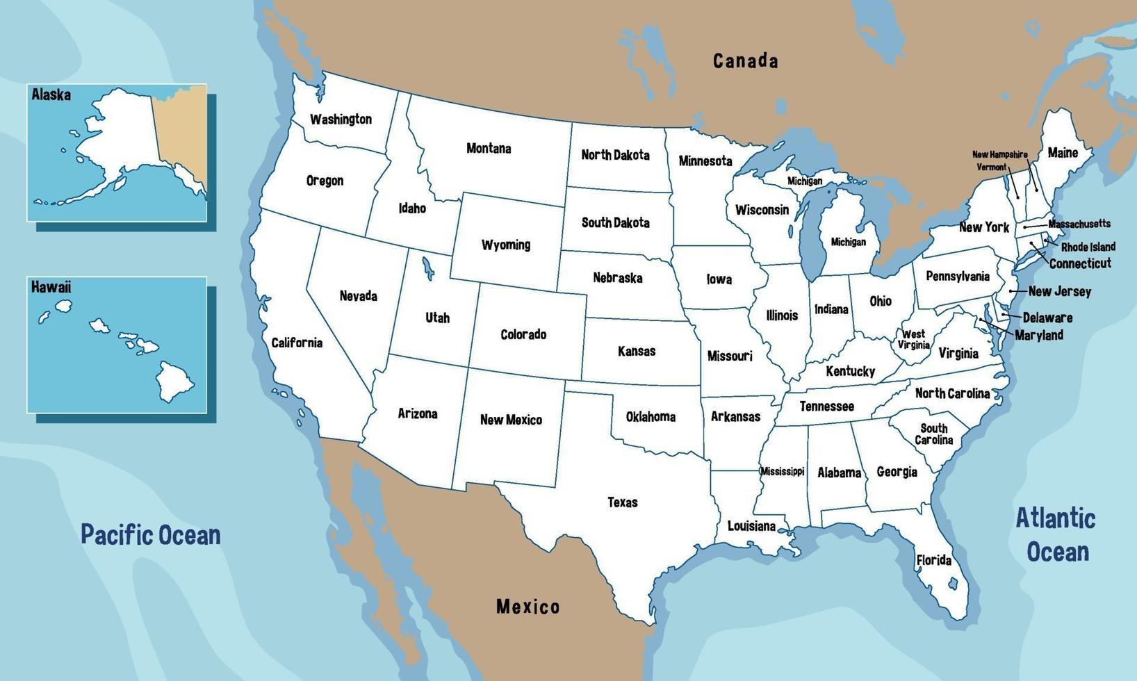 Förenta staterna karta med statens namn vektor