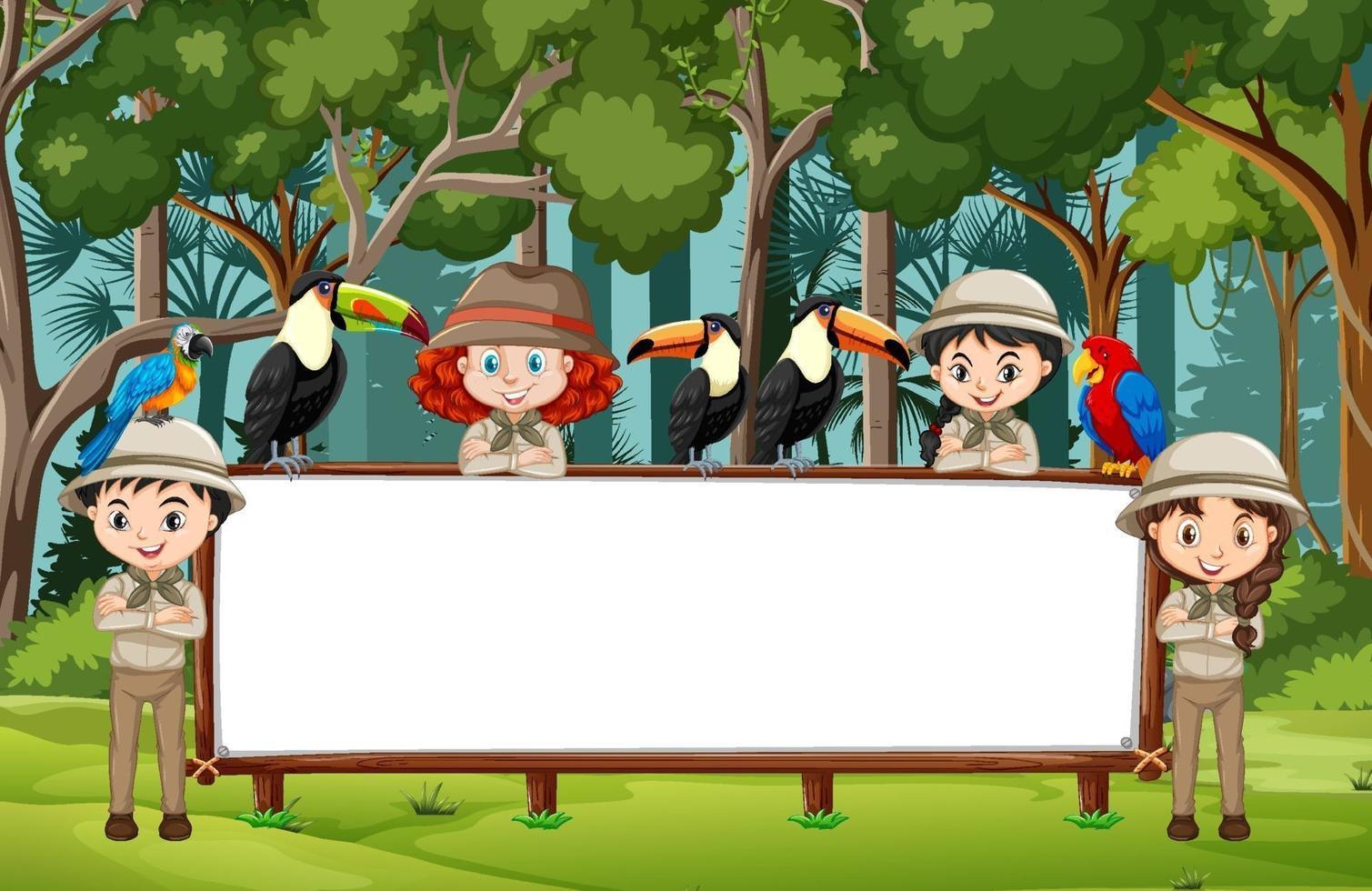 tom banner med många barn och vilda djur i skogsscenen vektor