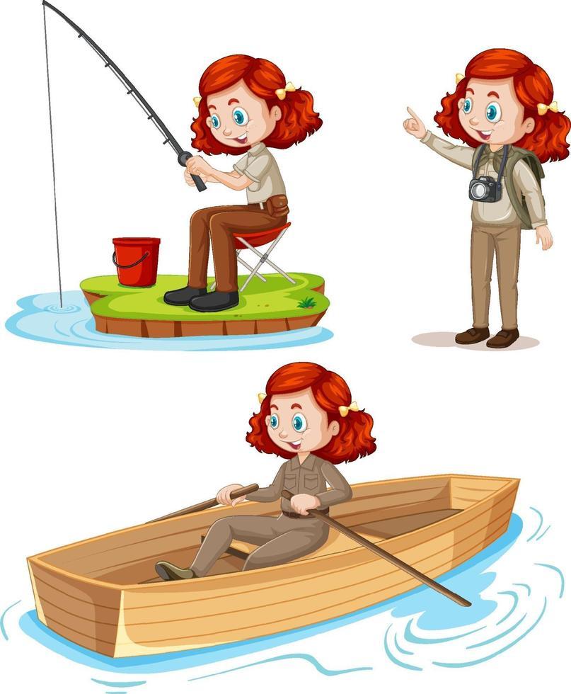 tecknad karaktär av en tjej i campingkläder som gör olika aktiviteter vektor