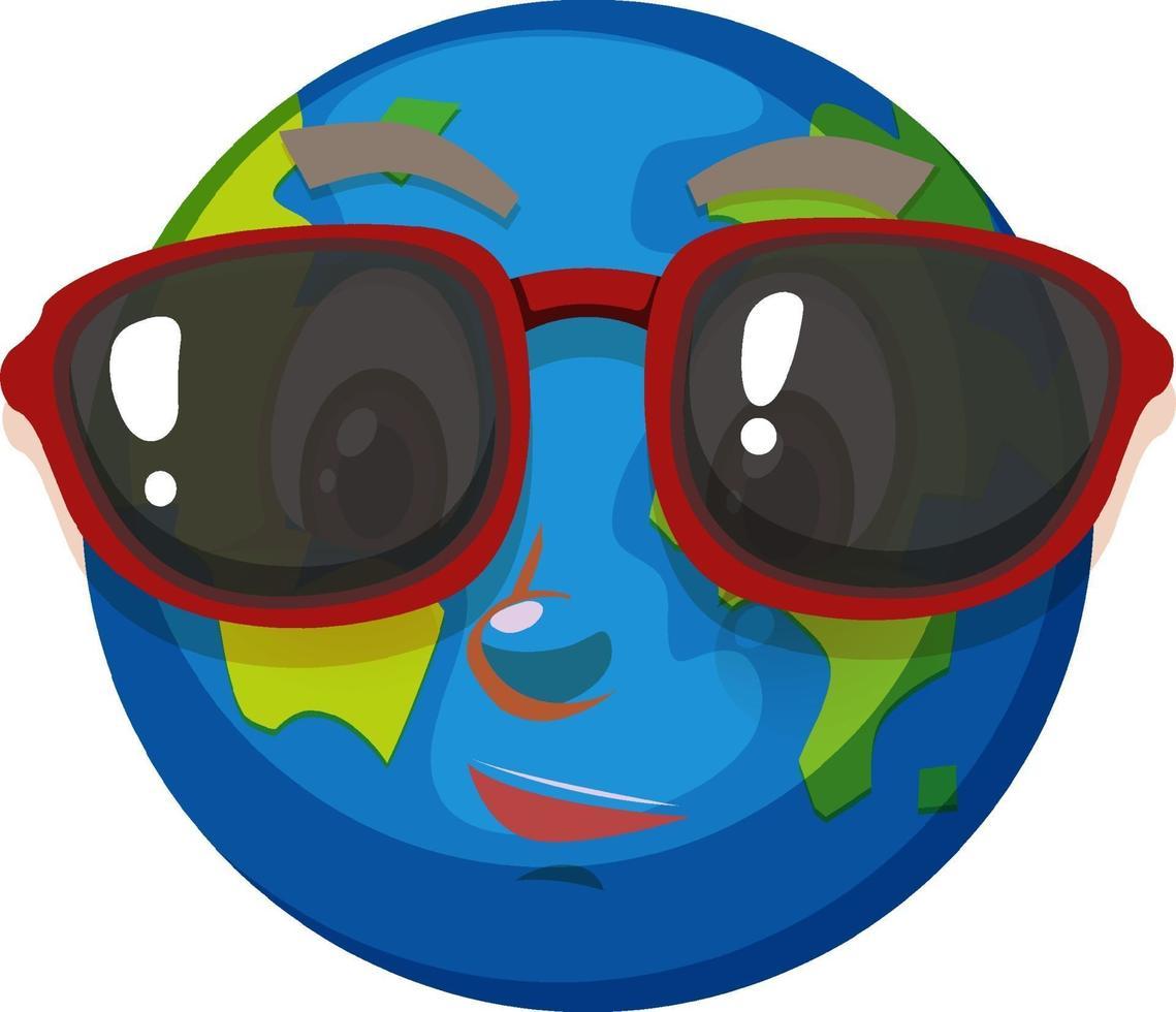 jorden seriefiguren bär solglasögon på vit bakgrund vektor
