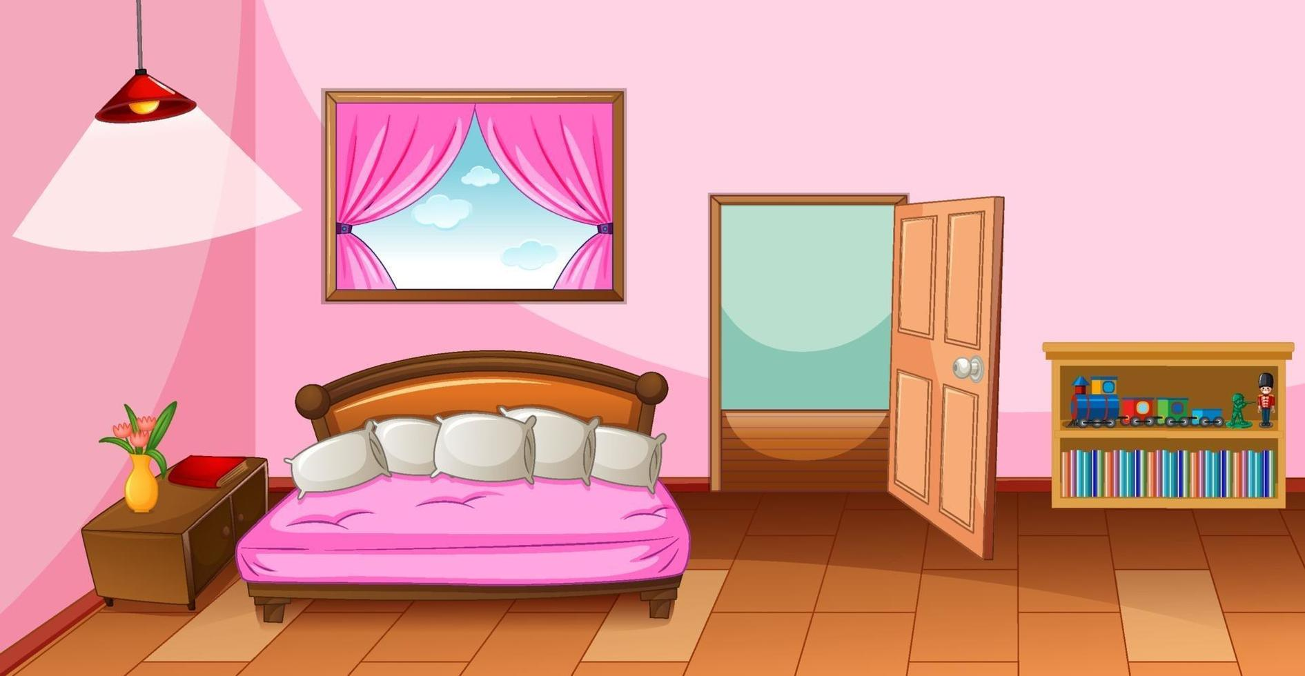 Schlafzimmer Interieur mit Möbeln in rosa Farbe Thema vektor