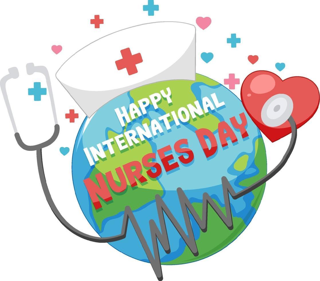 glad internationell sjuksköterskadagsstilsort med jorden och stetoskopet vektor