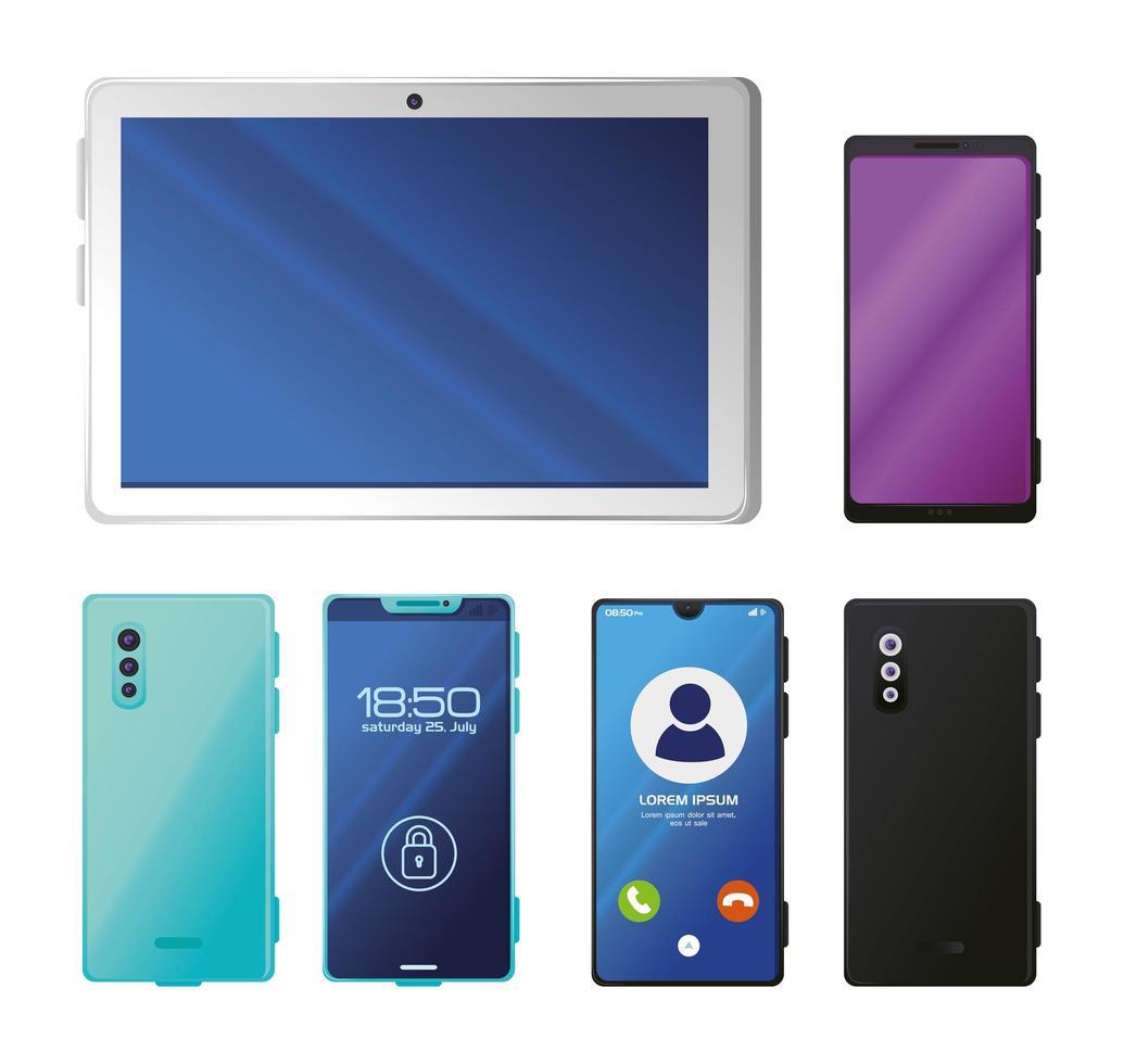 Satz von realistischen Smartphones und Tablet-Modell vektor