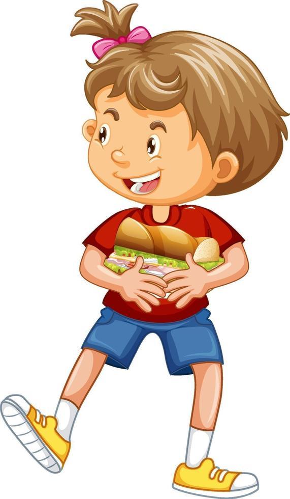 glad tecknad karaktär kramar mat smörgås vektor