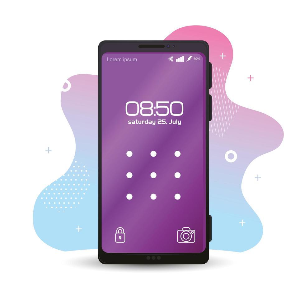 realistisches Smartphone-Modell mit Muster und Sperre auf dem Bildschirm vektor