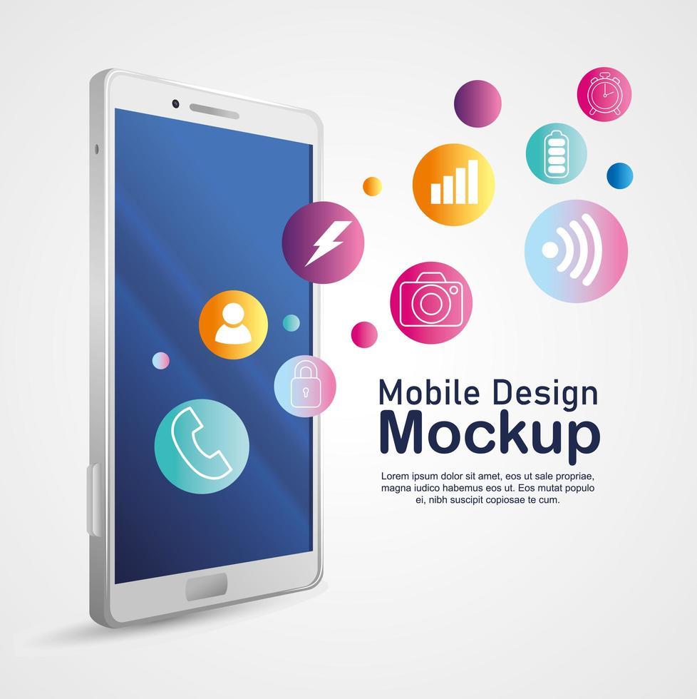 Handy-Design-Modell, realistisches Smartphone-Modell mit Symbolen vektor
