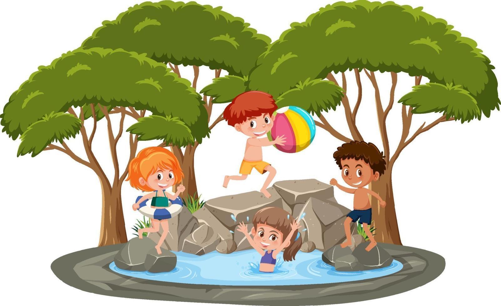 isolerad scen med barn som leker vid dammen vektor