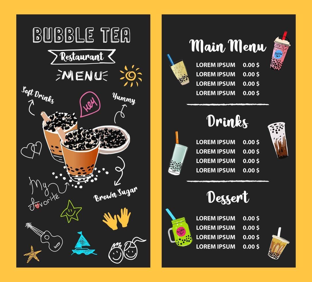Bubble Milk Tee, Perlmilch Tee, verschiedene Arten von Boba. leckere Getränke. vektor