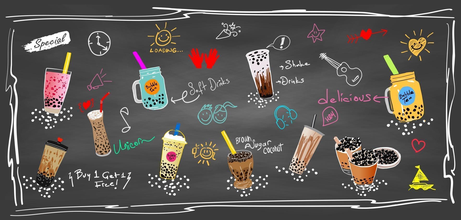 bubbelmjölkte, pärlemjölkte, olika sorters boba. smaskiga drycker. vektor