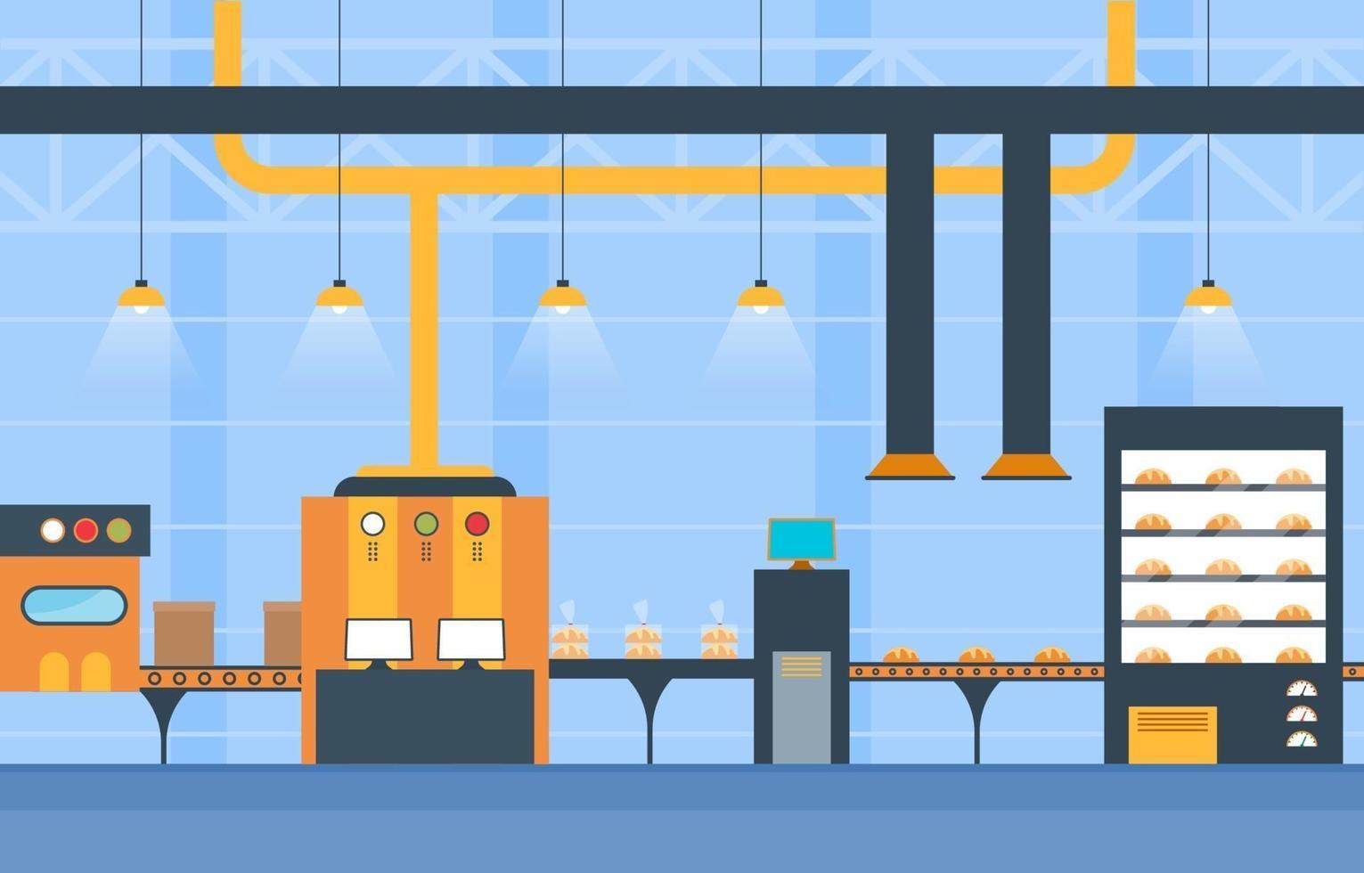 industriell fabriks transportband och robotmonteringsillustration vektor