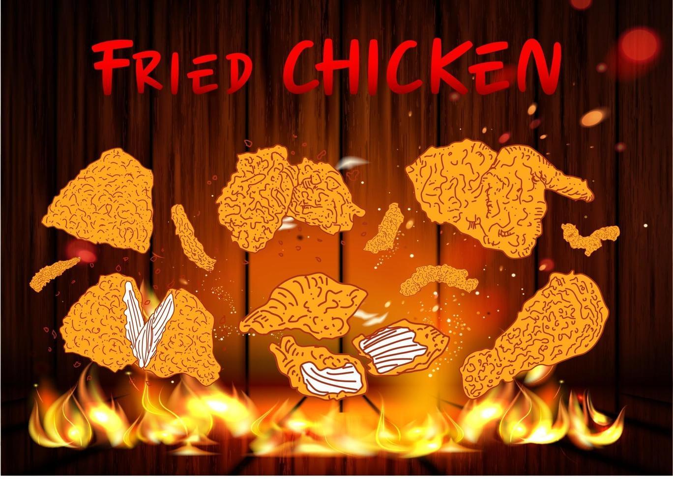 gebratenes Hühnerfleisch. Designelemente für Fast-Food-Menüs. vektor