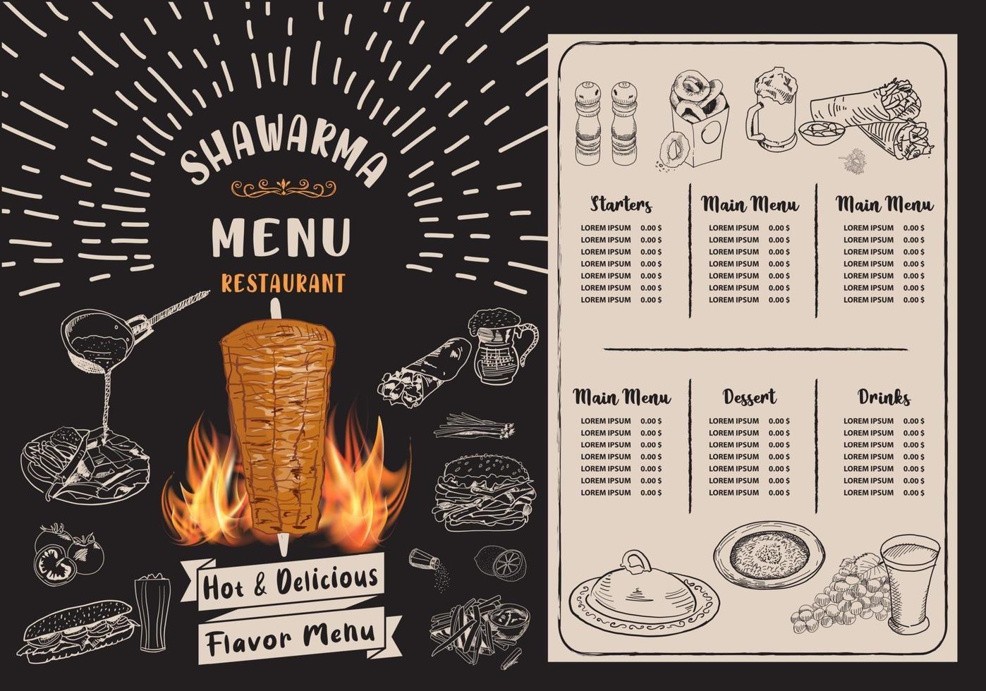 shawarma matlagning och ingredienser för kebab. vektor