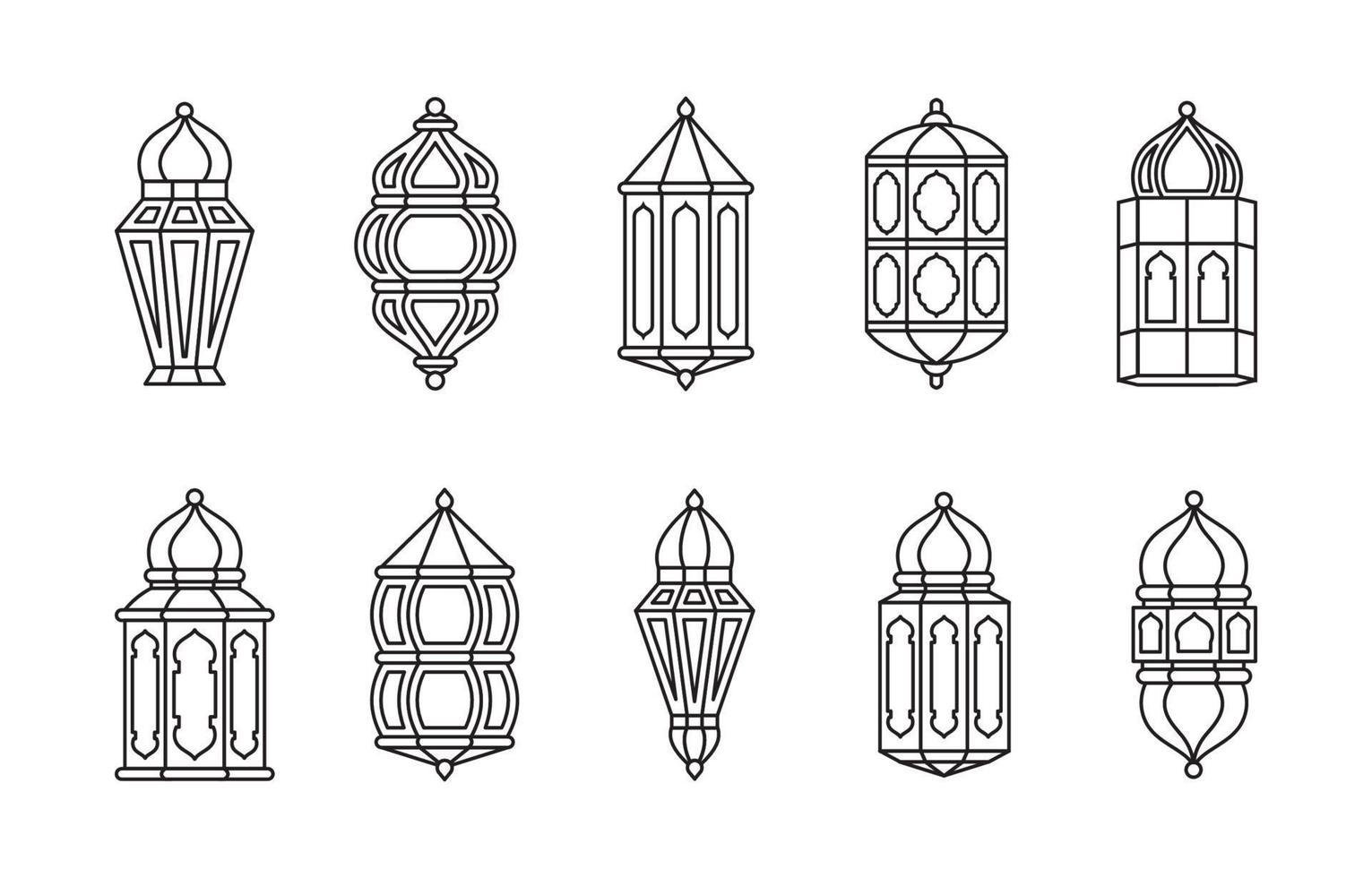 linje islamisk arabisk lyktkollektion isolerad vektor