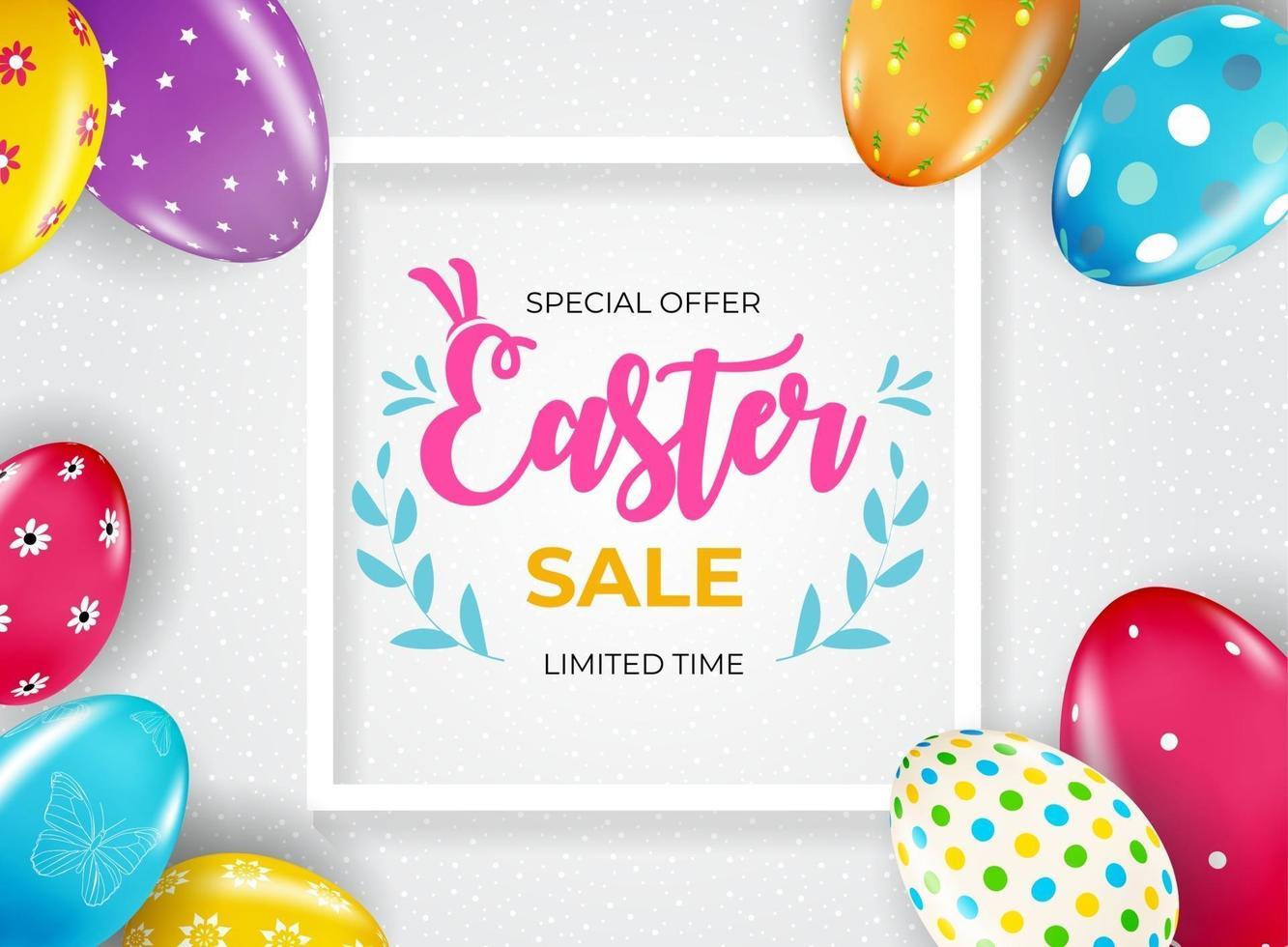påsk försäljning affisch mall med 3d realistiska påskägg. mall för reklam, affisch, flygblad, gratulationskort. vektor illustration.
