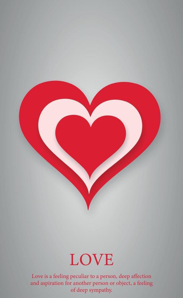 abstrakt festligt rött hjärta på grå bakgrund - vektorillustration vektor
