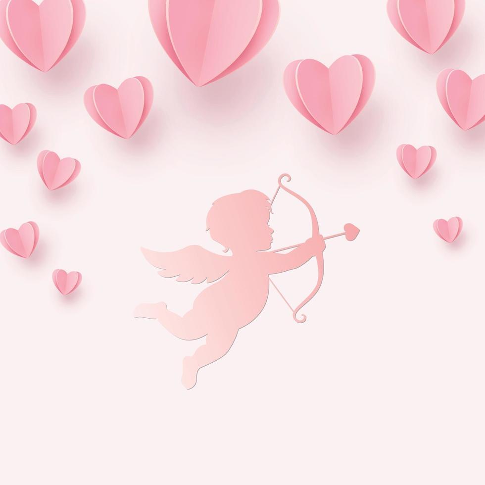 sanft rosarote Herzen und Amor auf einem rosa Hintergrund vektor