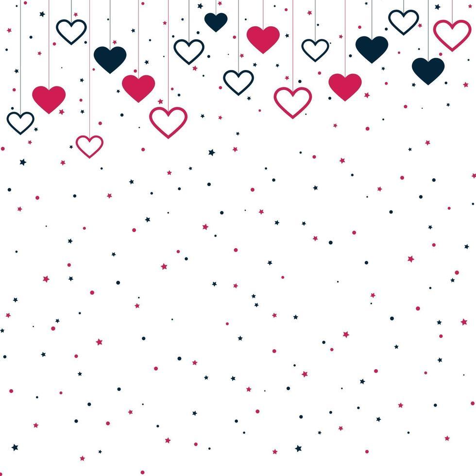 röda och blåa festliga hjärtan på vit bakgrund - vektorillustration vektor
