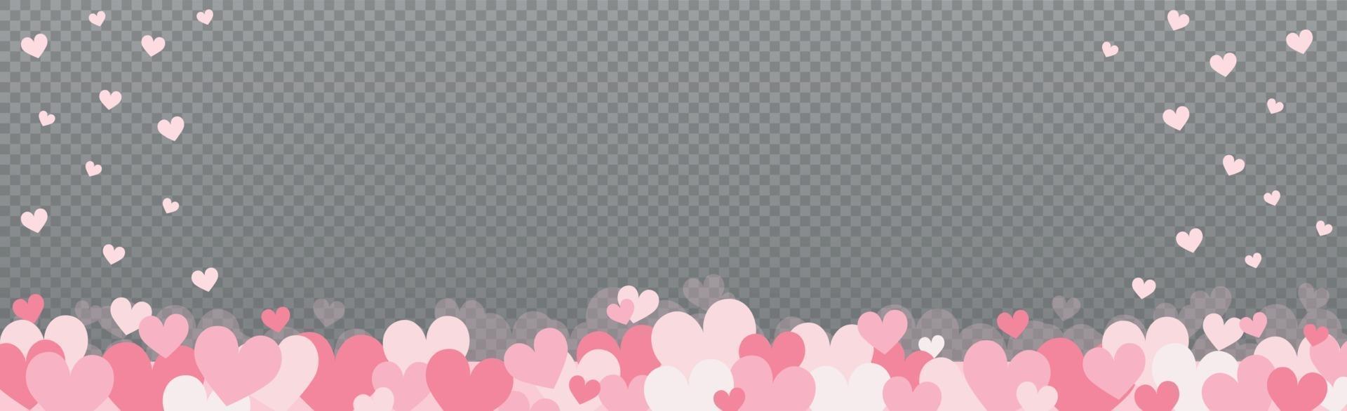 försiktigt rosa-röda hjärtan på en grå rutig bakgrund vektor