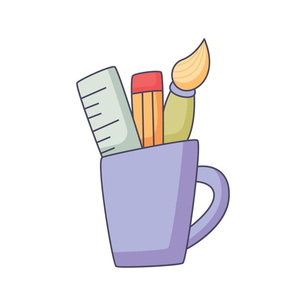 inlärningsutrustning tecknad klotter handritad koncept vektor kawaii illustration
