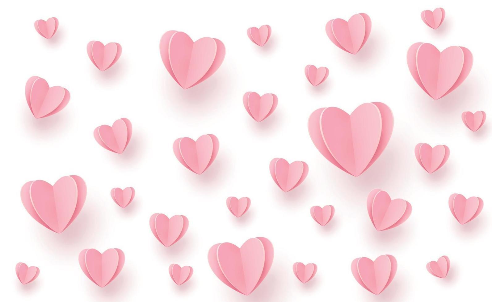 försiktigt rosa-röda hjärtan i form av ett stort hjärta på en vit bakgrund vektor