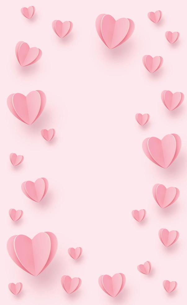 sanfte rosarote Herzen auf einem weißen Hintergrund - Illustration vektor