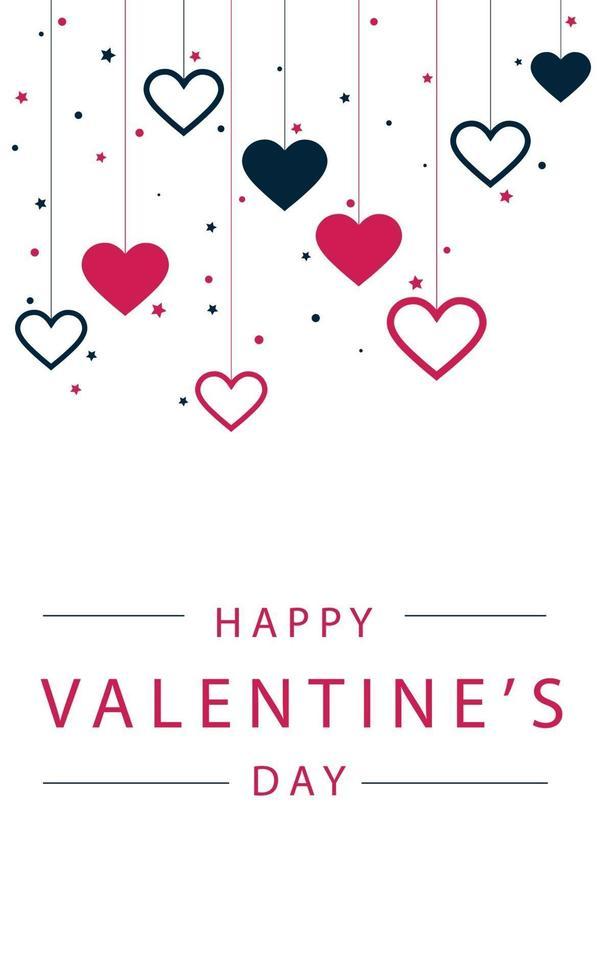 röda och blåa festliga hjärtan på en vit bakgrund med gratulationer - vektorillustration vektor