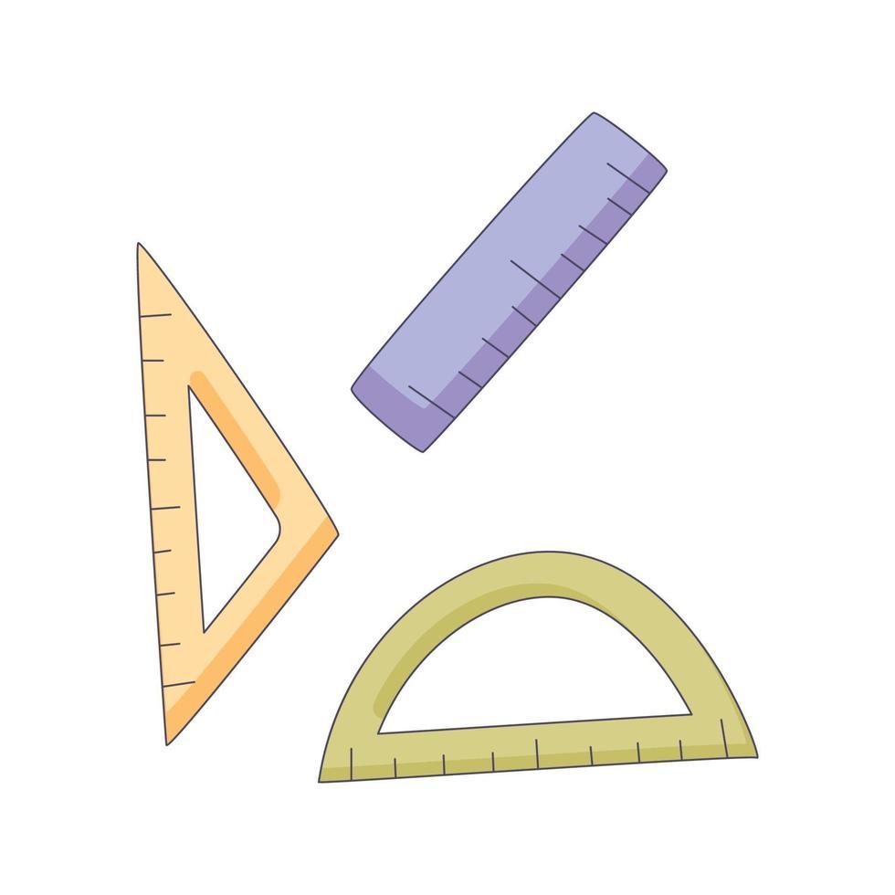 Hand gezeichnete Konzeptvektor-kawaii Illustration des Herrscherkarikatur-Gekritzelhand vektor