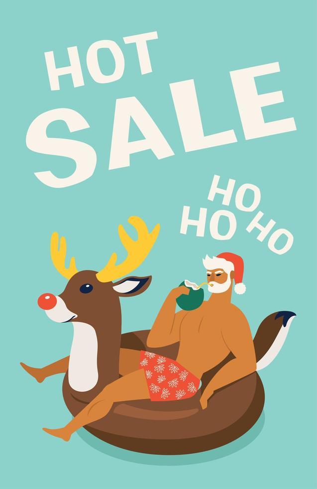 Weihnachtsmann trägt einen Hirschschwimmring. tropische Weihnachten. Sommer Santa. Vektorillustration. vektor