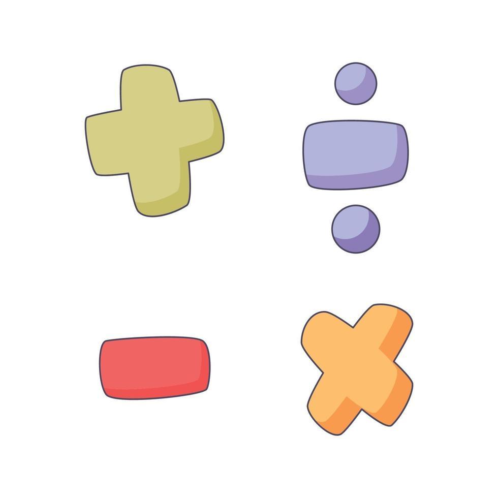 mathematisches Symbol Cartoon Gekritzel Hand gezeichnete Konzept Vektor Kawaii Illustration