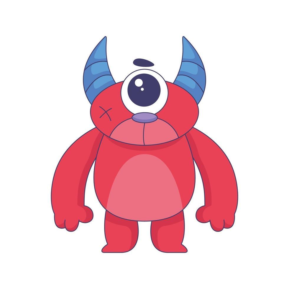 söt monster tecknad klotter handritad konceptdesign vektor konst kawaii illustration.