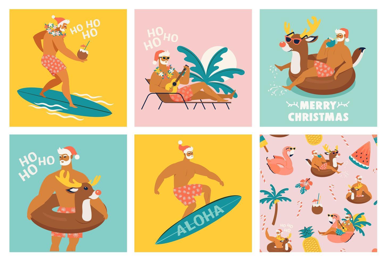 jul sömlös uppsättning kort och mönster med söta roliga jultomten djur med renar och flamingo uppblåsbar ring. tropisk jul. vektor illustration.