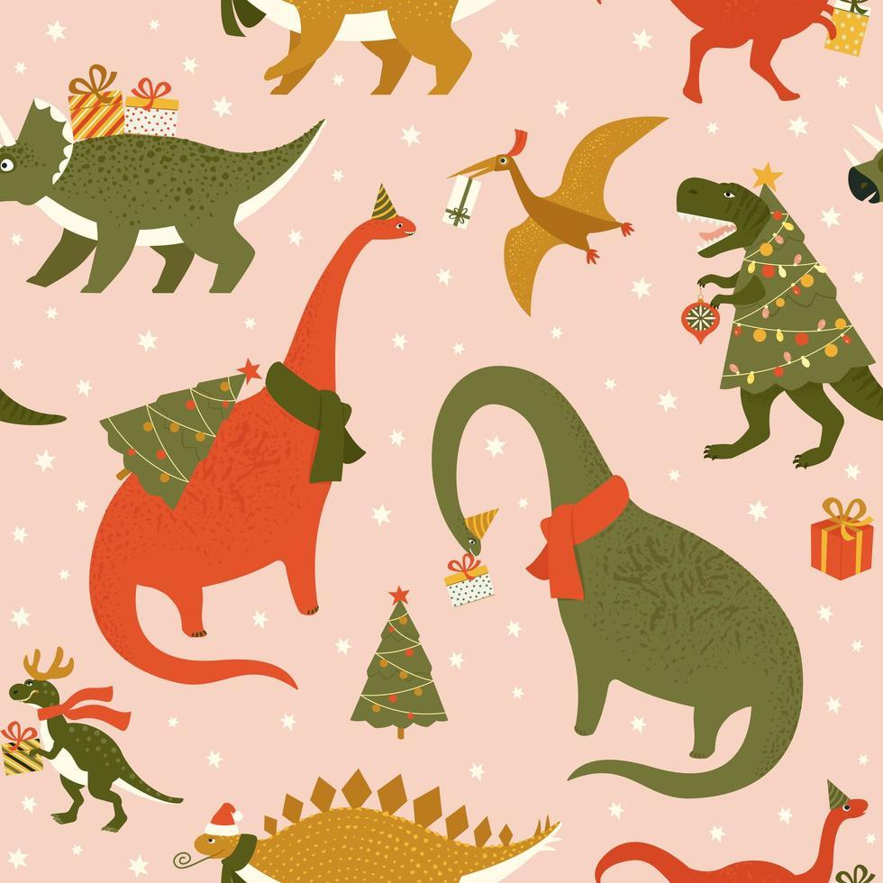 dino julfest träd rex. dinosaurie i santa hatt dekorerar julgransljus. vektorillustration av rolig karaktär i tecknad platt stil. vektor