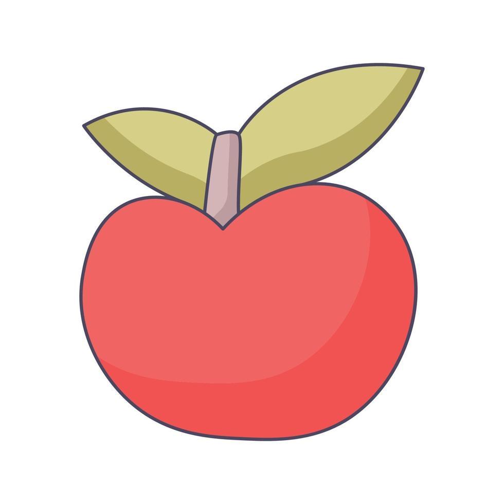 apple tecknad doodle handritad koncept vektor kawaii illustration