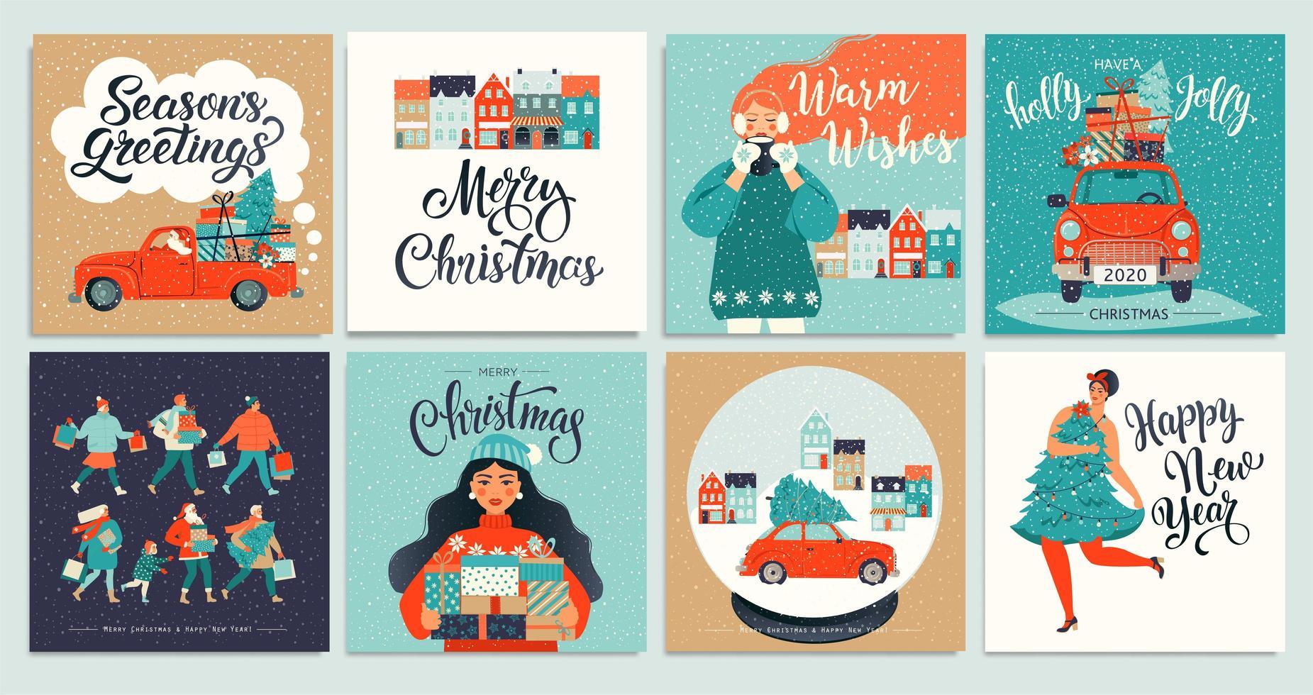 jul och nyårsmall för hälsning scrapbooking, gratulationer, inbjudningar, taggar, klistermärken, vykort. jul affischer set. vektor illustration.