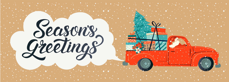 god jul stiliserad typografi. vintage röd bil med jultomten, julgran och presentaskar. vektor platt stil illustration.