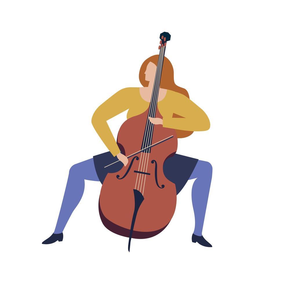kvinnamusiker som spelar violoncello tecknad rolig illustration i vektor. vektor