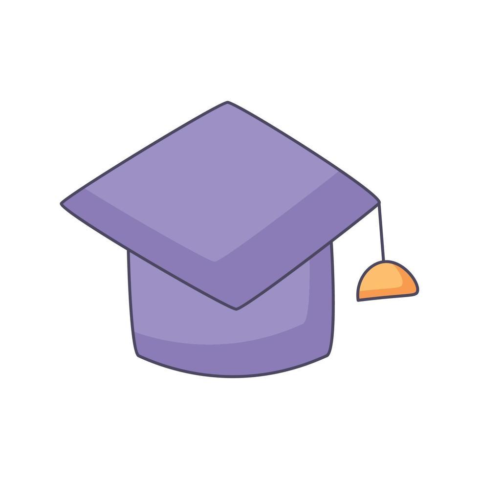 examen hatt tecknad klotter handritad koncept vektor kawaii illustration