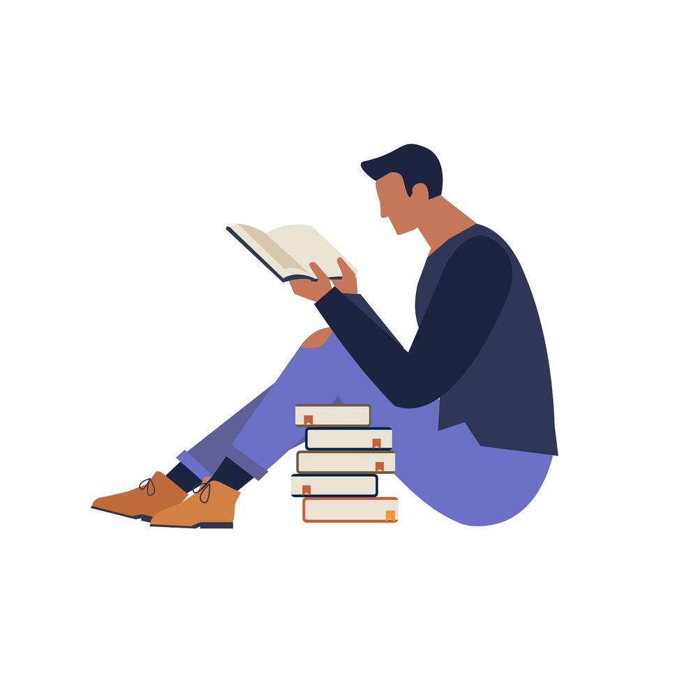 bokfestival affisch koncept av en karaktär som läser en bok och böcker staplade upp vektorillustration platt design vektor