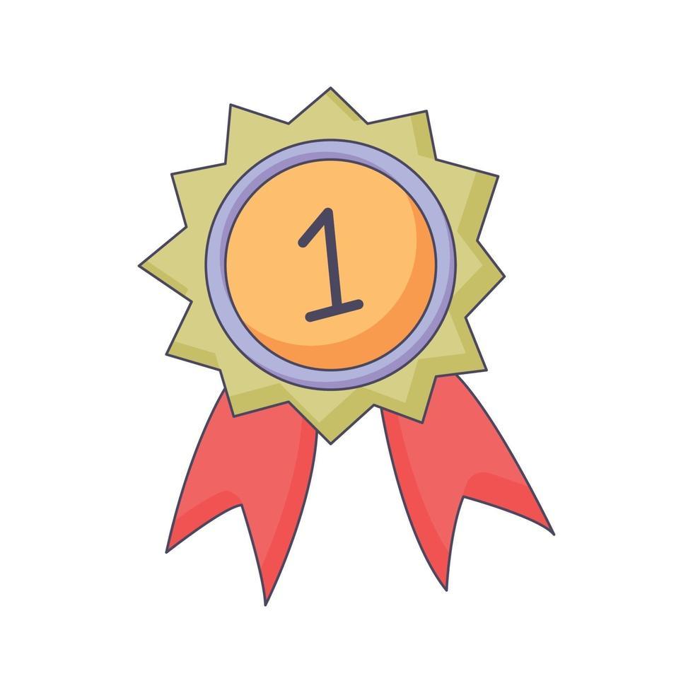 medalj tecknad klotter handritad koncept vektor kawaii illustration