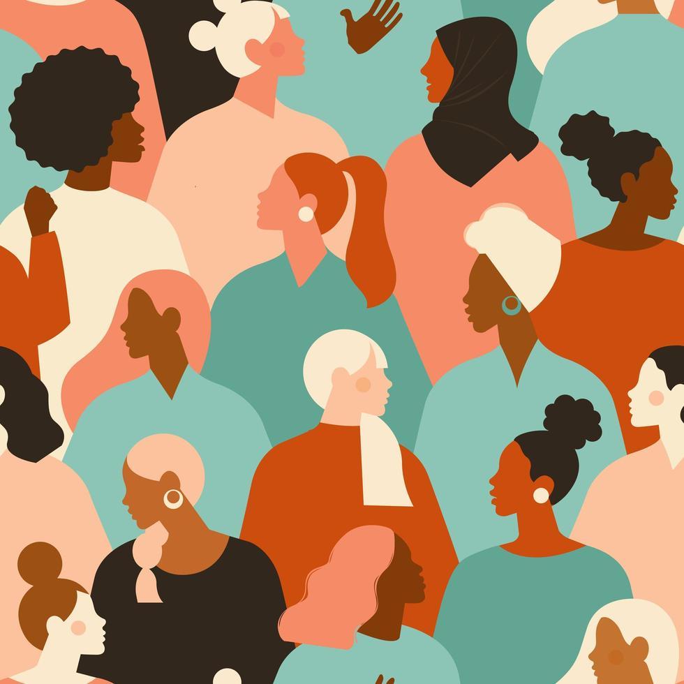 kvinnliga olika ansikten av olika etnicitet sömlösa mönster. kvinnors empowerment rörelsemönster. internationell kvinnodag grafik i vektor. vektor