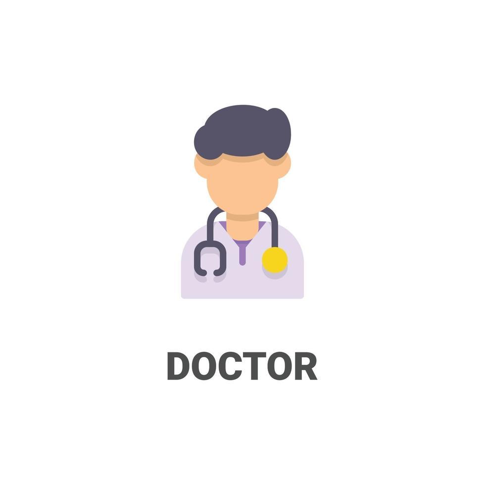 avatar läkare vektor ikon från avatar samling. platt stilillustration, perfekt för din webbplats, applikation, utskriftsprojekt etc.